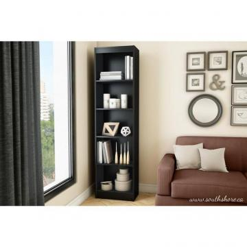 South Shore Axess 5-Shelf Narrow Bookcase, Pure Black