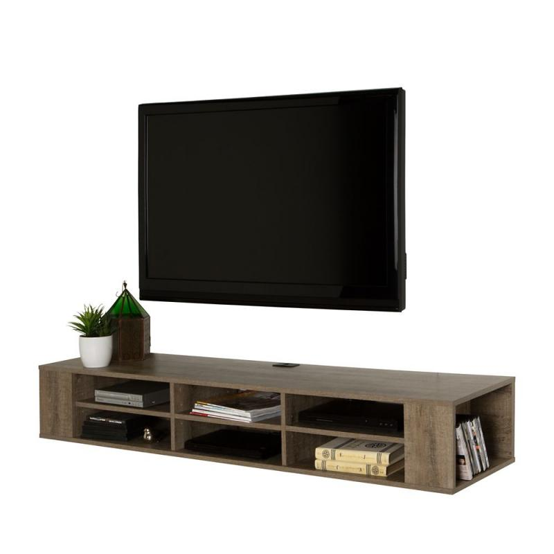 "South Shore City Life 66"" Wall Mounted Media Console, Weathered Oak"