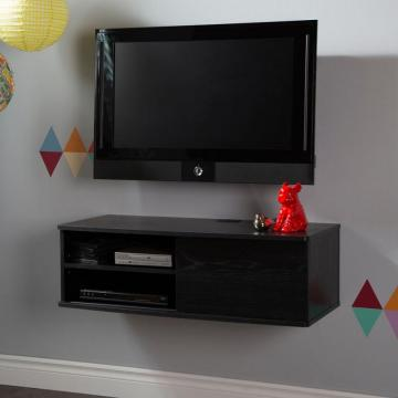 "South Shore Agora 38"" Wide Wall Mounted Media Console, Black Oak"