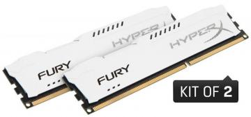 Kingston Hyperx 16GB 1866MHz Fury DDR3 DIMM RAM, White Kit (2x 8GB)
