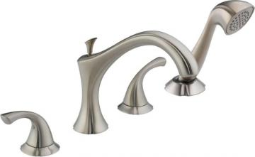Delta Addison 2-Handle Roman Bath Faucet with Hand Shower in Stainless Finish
