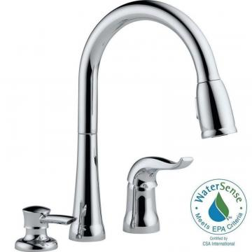 Delta Kate Single Handle Pull-Down Kitchen Faucet With Soap Dispenser