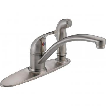 Delta Single Handle Kitchen Faucet with Spray, Stainless Steel