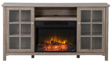 Homestar Provence 60 Inch Wide Media Fireplace in Reclaimed Wood