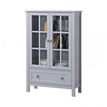 Homestar 2-Door/ 1-Drawer Glass Cabinet In Grey