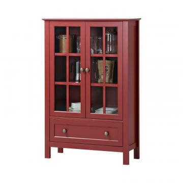 Homestar 2-Door/ 1-Drawer Glass Cabinet In Red