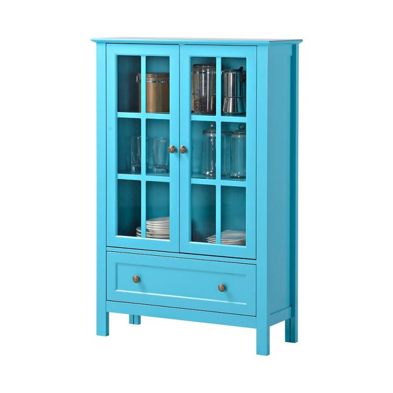 Homestar 2-Door/ 1-Drawer Glass Cabinet In Blue