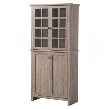 Homestar 2 Door Glass Storage Cabinet in Reclaimed Wood