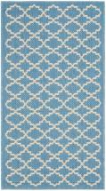 "Safavieh Courtyard Blue / Beige 2 ' 7"" x 5 ' Indoor/Outdoor Area Rug"