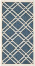 "Safavieh Courtyard Navy / Beige 2 ' 7"" x 5 ' Indoor/Outdoor Area Rug"