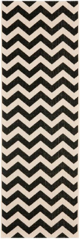 "Safavieh Courtyard Black / Beige 2 ' 3"" x 12 ' Indoor/Outdoor Runner"