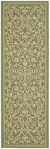 "Safavieh Courtyard Olive / Natural 2 ' 3"" x 12 ' Indoor/Outdoor Runner"