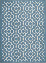 Safavieh Courtyard Blue / Beige 6 Feet 7 Inch x 9 Feet 6 Inch Indoor/Outdoor Area Rug