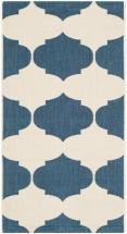 "Safavieh Courtyard Beige / Navy 2 ' 7"" x 5 ' Indoor/Outdoor Area Rug"