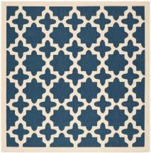 "Safavieh Courtyard Navy / Beige 5 ' 3"" x 5 ' 3"" Indoor/Outdoor Square Area Rug"