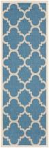 "Safavieh Courtyard Blue / Beige 2 ' 4"" x 14 ' Indoor/Outdoor Runner"