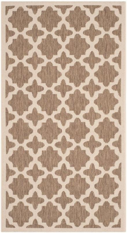 "Safavieh Courtyard Brown / Bone 4 ' x 5 ' 7"" Indoor/Outdoor Area Rug"