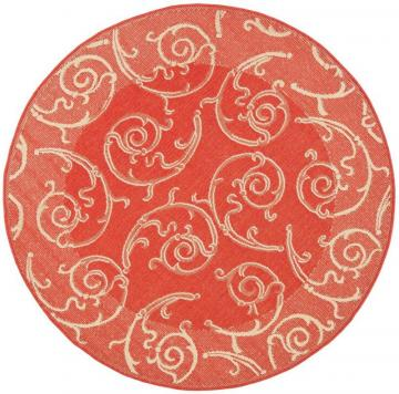 "Safavieh Courtyard Red / Natural 5 ' 3"" x 5 ' 3"" Indoor/Outdoor Round Area Rug"