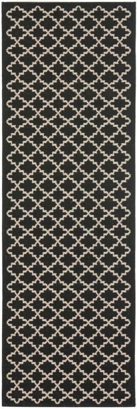 "Safavieh Courtyard Black / Beige 2 ' 3"" x 22 ' Indoor/Outdoor Runner"
