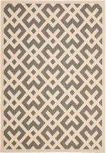 Safavieh Courtyard Grey / Bone 4 Feet x 5 Feet 7 Inch Indoor/Outdoor Area Rug
