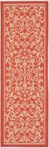 "Safavieh Courtyard Red / Natural 2 ' 3"" x 10 ' Indoor/Outdoor Runner"