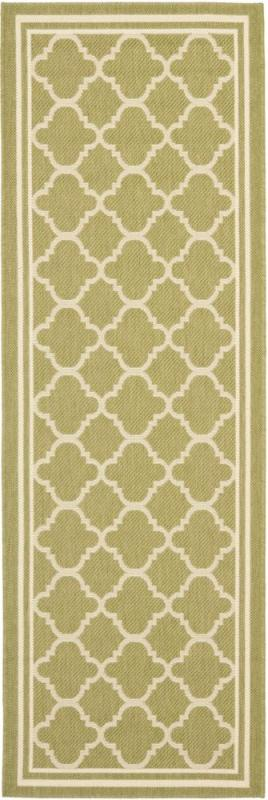 "Safavieh Courtyard Green / Beige 2 ' 4"" x 14 ' Indoor/Outdoor Runner"