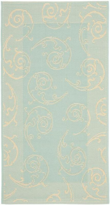 Safavieh Courtyard Aqua / Cream 2 Feet 7 Inch x 5 Feet Indoor/Outdoor Area Rug