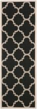 "Safavieh Courtyard Black / Beige 2 ' 4"" x 12 ' Indoor/Outdoor Runner"