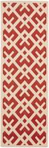 Safavieh Courtyard Red / Bone 2 Feet 4 Inch x 14 Feet Indoor/Outdoor Runner