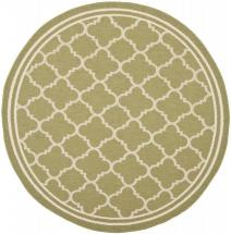 "Safavieh Courtyard Green / Beige 5 ' 3"" x 5 ' 3"" Indoor/Outdoor Round Area Rug"