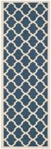 "Safavieh Courtyard Navy / Beige 2 ' 3"" x 12 ' Indoor/Outdoor Runner"