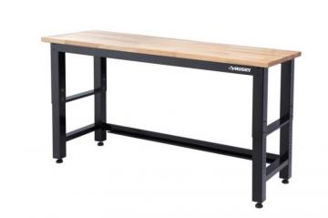 Husky 72-inch Adjustable Height 3000 lb. Capacity Workbench with Solid Wood Top