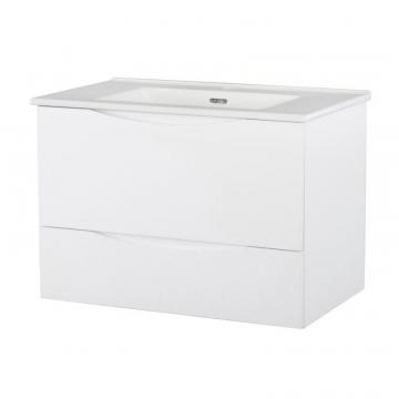 Home 30-inch W Wall Hung Vanity in White Finish with Vitreous China Top