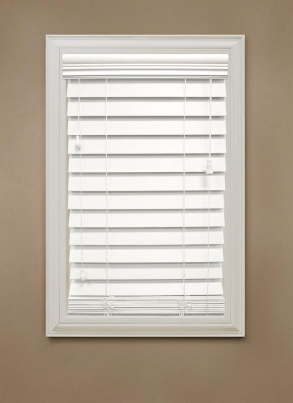 "Home 60 in. x 48 in. White 2.5"" Premium Faux Wood Blind"