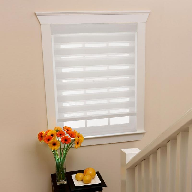 Home 27 in x72in White Zebra Layered Roller Shades