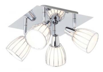 Home Balbino Ceiling Light 4L, Chrome Finish with White Opal Glass
