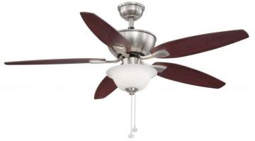 "Hampton Bay Carrolton II LED 52"". Brushed Nickel Ceiling Fan"