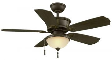 "Hampton Bay Umber 46"" Outdoor Rated Ceiling Fan with Natural Iron Finish and Dark Walnut blades"