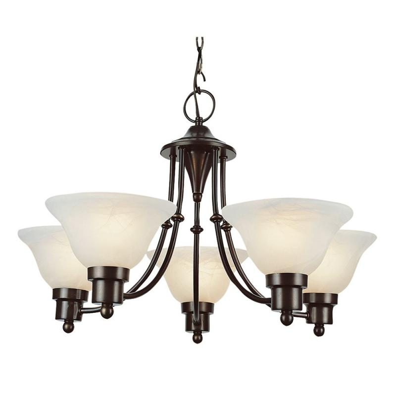 Hampton Bay Blackened Bronze Contemporary 5 Light Chandelier
