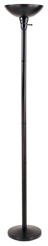 Hampton Bay Incandescent Torchiere with Metal Shade and 3-Way Switch, Black Finish