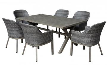 Hampton Bay Crown View Grey 7-Piece All-Weather Wicker and Steel Patio Dining Set with Grey Cushions