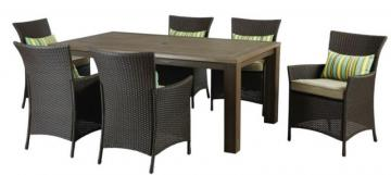 Hampton Bay Tacana Espresso 7-Piece All-Weather Wicker Patio Dining Set with Cushions