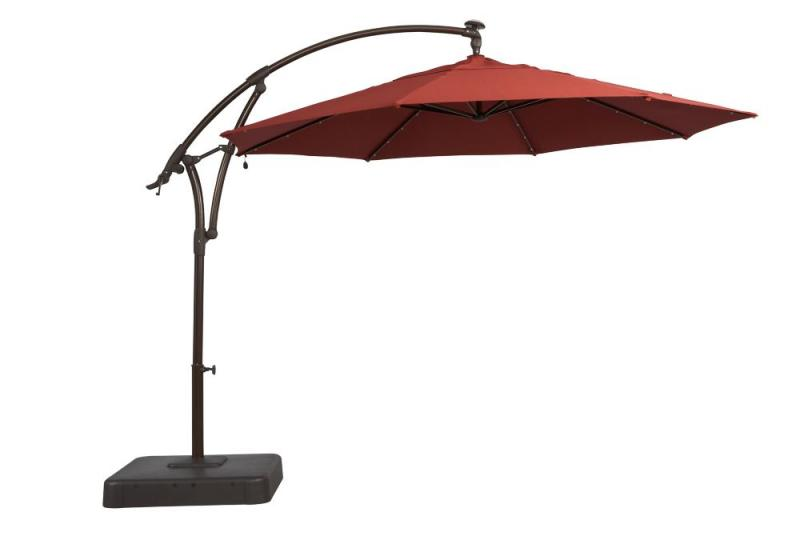 "Hampton Bay 11' Solar Offset Umbrella"" Red"