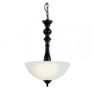 Hampton Bay Bronzed Candlestick and Frosted Glass Hanging Pendant