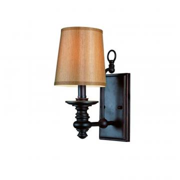 Hampton Bay Oiled Bronze Linen Shade Wall Sconce