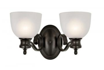 Hampton Bay Bronzed Candlestick and Frosted Glass Double Sconce
