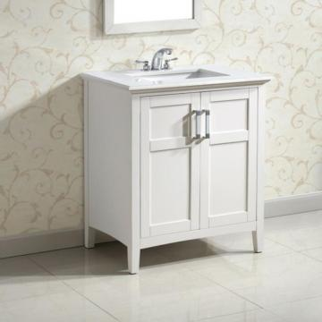 Simpli Home Winston 30-inch W Vanity in White Finish with Quartz Marble Top in White