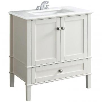 Simpli Home Chelsea 30-inch W Vanity in White Finish with Quartz Marble Top