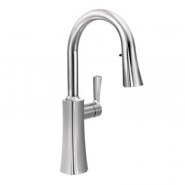 Moen Etch One-Handle High Arc Pulldown Kitchen Faucet In Chrome