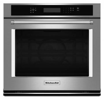 KitchenAid 4.3 cu. ft. Electric Single Wall Oven with Even-Heat True Convection in Stainless Steel